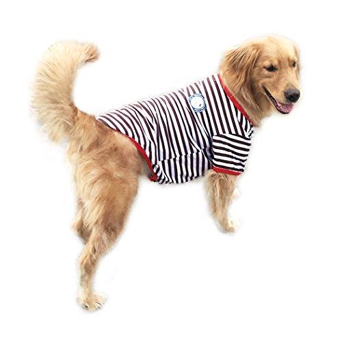 Hund T Shirt systond Fashion Sommer Spring Pet Hund Kleidung Streifen breit schwarz T-Shirt, Doggy Kleidung Baumwolle Shirts Hund Costumes für große Medium (Puppy Face Kostüm Dog)