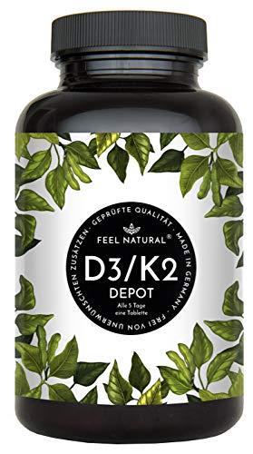Vitamin D3 + K2 Tabletten - 180 Stück - Hochdosiert mit 5.000 IE Vitamin D3 und 200 µg Vitamin K2 pro EINER Tablette - K2 MK-7 aus Natto >99% All Trans - Ohne Zusätze, Hergestellt in Deutschland