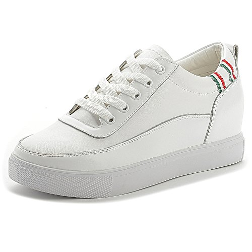 Shenn Donna Nascosto Cuneo Tallone Allacciare Comfort Pelle Sneaker Moda Bianco