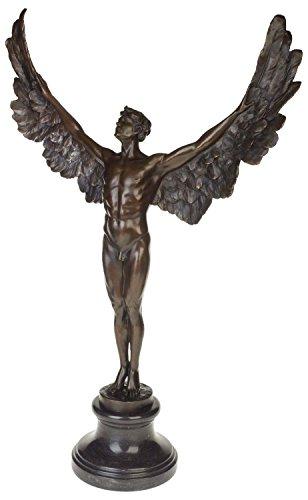 aubaho Bronzeskulptur Ikarus Mythologie Engel Flügel Bronze Figur Statue im Antik-Stil (Bronze Engel Statue)