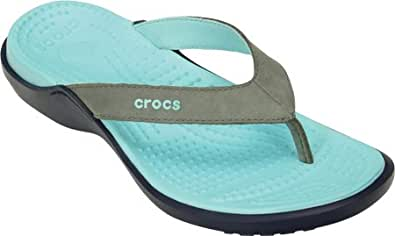 crocs Women's Capri IV Smoke and Ice Blue Rubber Flip-Flops and House Slippers- W11