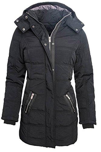 Langer Damen Winter Stepp Mantel Parka Jacke Schwarz B173 XS-XL