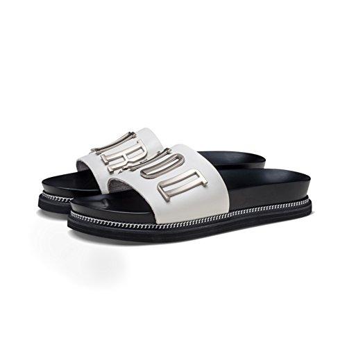 Pantofole in pelle con fibbia laterale/Pantofole di usura estiva C