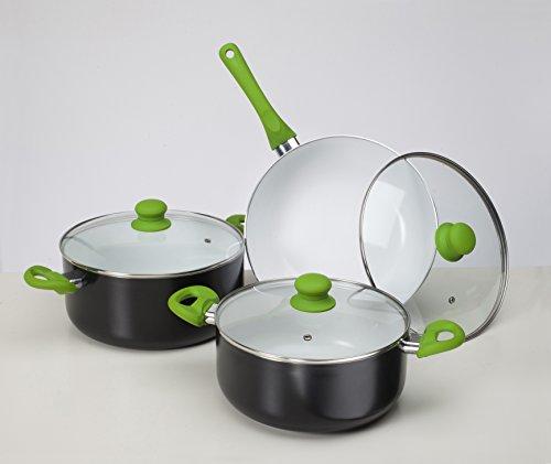 Batería de cocina ecológica Cuberland Royal, revestimiento cerámico, 6 piezas, válida para inducción, vitrocerámica, gas, electricidad,