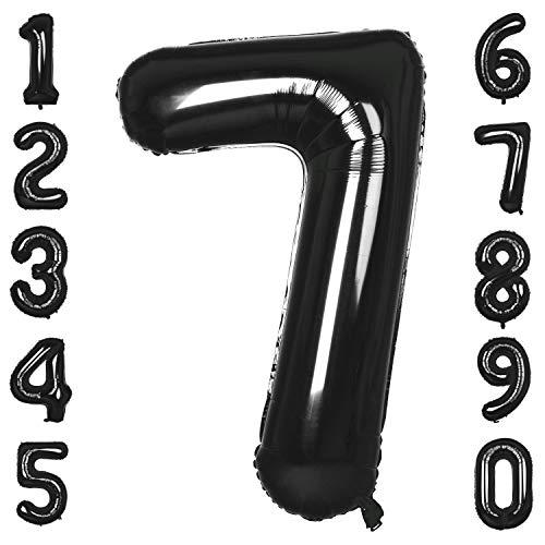 CHANGZHONG 40-Zoll 0-9 in Schwarz Nummer Foil Ballons Helium Zahlenballon Luftballon Riesenzahl Party Hochzeit Kindergeburtstag Geburtstag Nummer 7