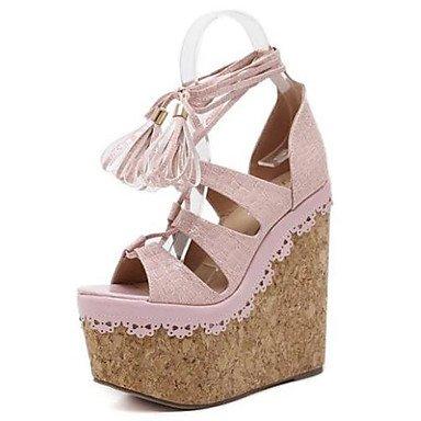 LvYuan Da donna-Sandali-Formale-Club Shoes-Zeppa-PU (Poliuretano)-Nero Rosa Tessuto almond Black