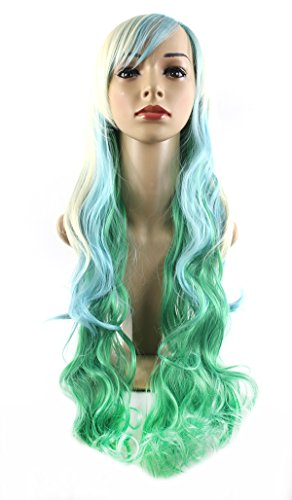 Xiaoyu 1471cm Harajuku Style Mixed Light Blonde Blue Green Long Female Curly Cosplay Wig by (Light Perücke Blue)