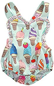 Little Girl Ice Cream Romper Toddler Baby Girl Sleeveless Ruffle Bodysuit Strap Jumpsuit One Piece Outfit Clot