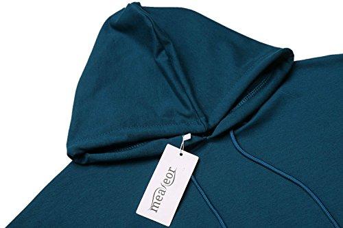 Meaneor Damen Poncho Hoodie Casual Kapuzenpullover Shirt Lose Langarm Tops Blau