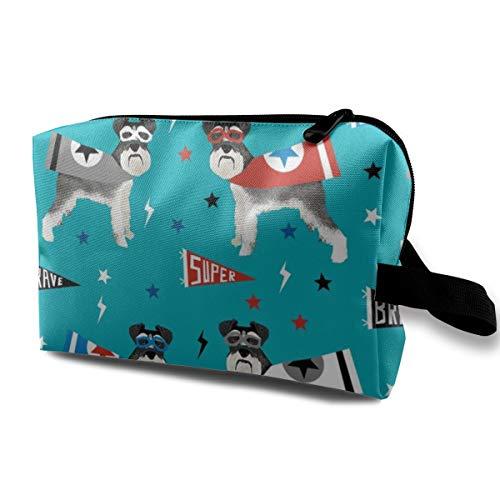 Stoff - Hund Superhero Stoff, Hund, Stoff, Hunde Stoff, Cape Stoff, Maske, Superhelden - Blue_407 Tragbare Reise-Make-up Kosmetiktaschen Organizer Multifunktions Tasche für Frauen ()