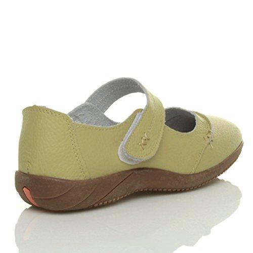 Sandales marches femmes confortables décontractées larges cuir velcro taille Vert pistache