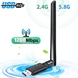 WLAN Stick, USB WiFi Adapter, WLAN Adapter USB 3.0 WiFi Dongle 1200Mbit/s Dualband(5.8G/867Mbps 2.4G/300Mbps) 5dBi Antenne mit Thermisches Design für Windows/Mac OS/Linux/Desktop/PC/Laptop/Notebook