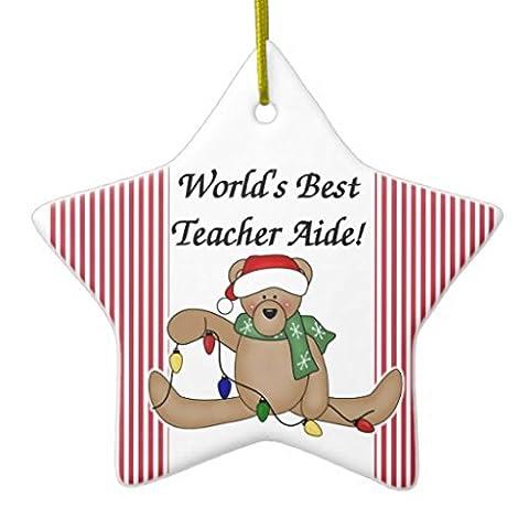 Arbre de Noël Décorations Teddy Bear Worlds Best Teacher aide vacances Décoration Les deux côtés Star en céramique Décoration Artisanat de cadeaux de