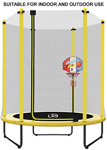 Dia 150 x H 180 cm Gelbes Trampolin mit Basketballständer, Sicherheitsnetz, Innen- / Außenbereich fü FVC25