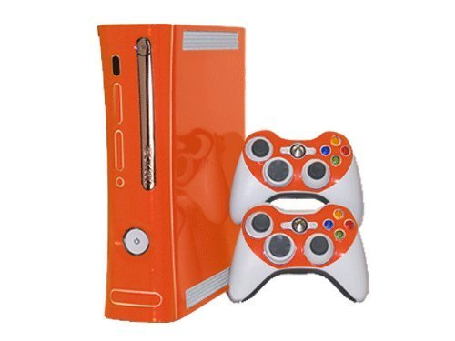 microsoft-xbox-360-skin-1st-gen-new-citrus-orange-system-skins-faceplate-decal-mod-by-system-skins