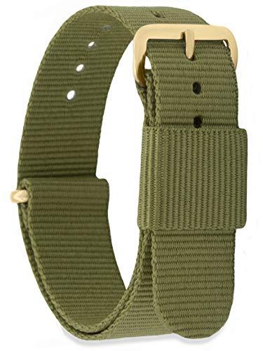 MOMENTO Damen Herren NATO Nylon Ersatz Uhren-Armband Strap mit Edelstahl-Schliesse in Gelb-Gold und Nylon-Armband in Grün (Army) 18mm