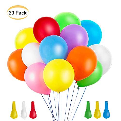 Flyglobal 20 Stück LED leuchtende Luftballons, LED Ballons Partyballon mit Luft oder Helium für Geburtstag Party Hochzeit Valentinstag Karneval Festival Dekoration Bunt (2)