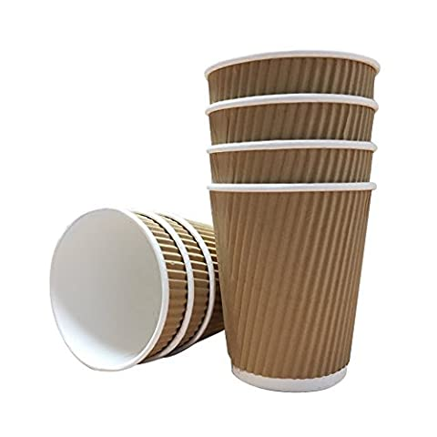 100 x Kraft 8 Ounce Ripple Paper Cups and White