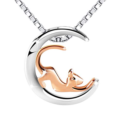 Amilril Christmas Necklace Gift, 925 Sterling Silver Rose Gold Tone Playful Cat Charms Moon Pendant Necklaces