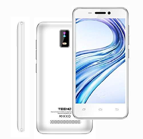 TEENO Smartphone 4G Pas Cher 4.0' HD IPS Téléphone Portable Débloqué 1Go RAM 8Go ROM (Android 7.0 Double SIM Double Caméras Quad Core) Blanc