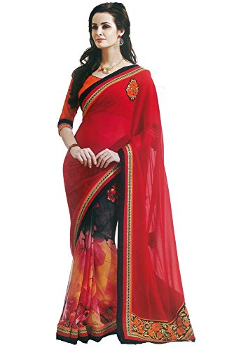Chirag Sarees Faux Georgette Saree (Bb50026_Yellow & Red)
