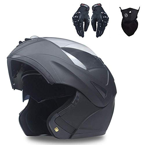 Professionale Casco Moto, Apribili e Modulare Integrale Casco Motocicletta Scooter Motorino Doppio Visiera Caschi Moto Set (3 PCS) con Guanti Maschera, per Donna Uomo Adulto (MatteBlack,L)