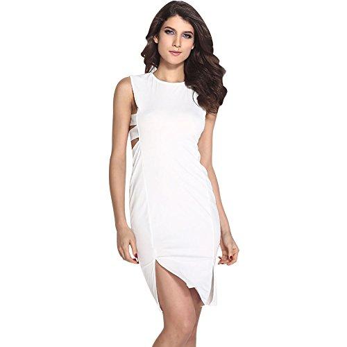Pinkyee Damen Kleid Weiß 2