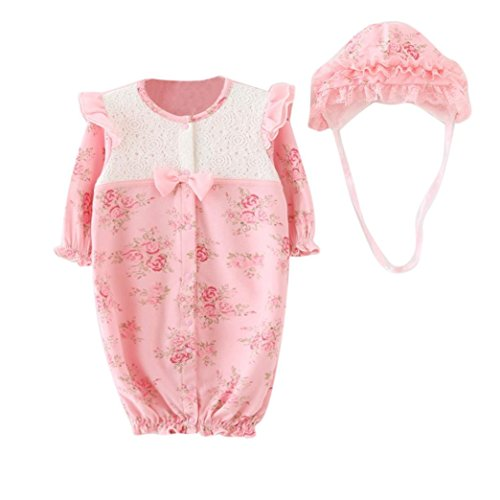 Bekleidung Longra Säugling neugeborenes Mädchen Baby Mütze Hüte + Strampler Bodysuit Playsuit Kleidung Set(0-18 Monate) (60CM 3-6Monate, Pink) (Baby Mädchen Bekleidung Sets)