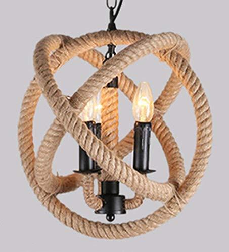 Industrial Globo lámparas con cuerda de cáñamo, Esférica Vintage Industrial Plafón de Techo, rústico cuerda cocina Isla lámpara fixure, 3Luz E14yute Iron Art Metal lámpara Colgante