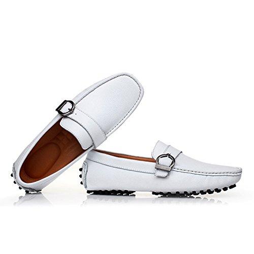 Icegrey Hommes Mocassins Cuir Avec Boucle Plates Chaussures en Cuir Pour Hommes Blanc