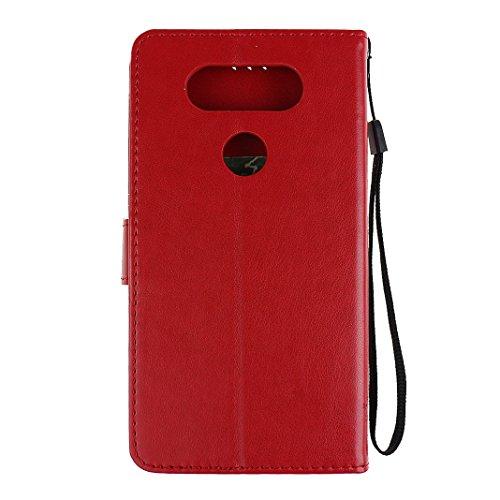 LG V20 Custodia Pelle Cover Case HuaForCity® Portafogli Custodia in Pelle PU Copertina con Slot per schede Magnetica Flip Chiusura Stile del Libro Supporto Funzione Bumper Caso for iphone LG V20 Custo Rosso