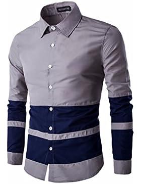 Camisa de manga larga hombre elegante casual, camisa de manga larga de color hechizo
