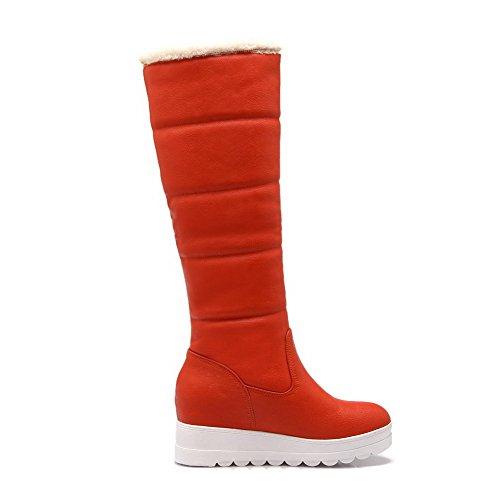 AllhqFashion Damen Niedriger Absatz Weiches Material Mitte-Spitze Rein Ziehen auf Stiefel, Orange, 41