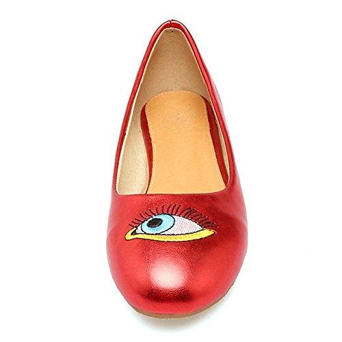 TAOFFEN Femme Decontracte A Enfiler Eye Imprime Bout Rond Plat Escarpins bas Rouge