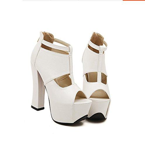 Gtvernh-blanc Chaussures De 8.5cm Seulement Avec Talon Épais Chaussures À Talons Le Printemps Et L'été Sexy Vidée Fond Épais Poisson-bouche Plate-forme Chaussures Sandales., 39 Trente-huit