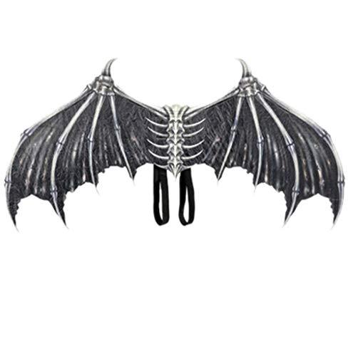 Tomatoa Cosplay-Kostüm Flügel Halloween Engel schwarz/Weiß Dämonen Flügel Gothic Fledermausflügel Karneval Thema Party Kostüm Weihnachtsparty, Unisex interessant,87x 45 cm (Schwarz)
