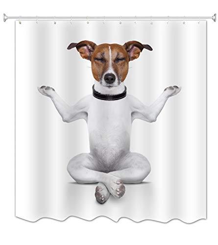 """A.Monamour Fondo Blanco Yoga Gracioso con Perros Meditación Zen Tema Impermeable Poliéster Impermeable Cortina De Ducha De Tela para Accesorios De Baño 165X180 CM / 65""""X 72"""""""
