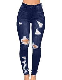 d8ff648111 STRIR Vaqueros para Mujer Cintura Alta Tallas Grandes Pantalones Rotos  Leggins Mujer Pantalones Jeans Mujer Elástico