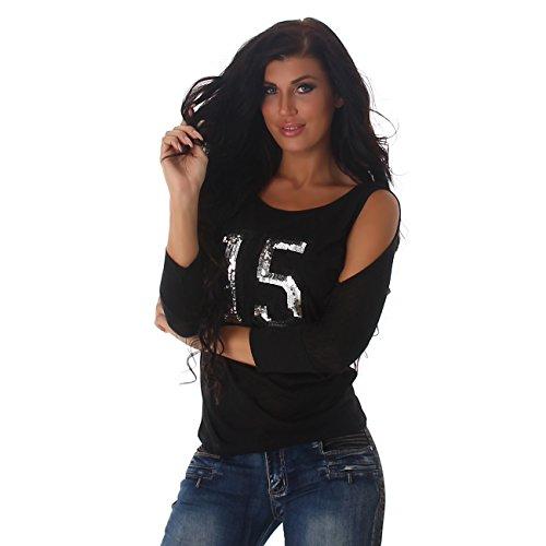 Jela London Damen Langarmtop IM Oversized Look, Pailletten, Offene Schulterpartie, Fledermausärmel, in Vielen Farben Erhältlich, Gr. 34-38 Schwarz
