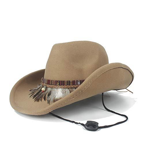 2019 Winter Cowboy Hut Wolle Männlichen Western Cowboy Hut Mit Mode Feder Quaste Gürtel Weibliche Jazz Cowgirl Hut Trendy (größe: 56-59 cm) Sommerhut im Freien ( Farbe : Khaki , Größe : 56-59cm )