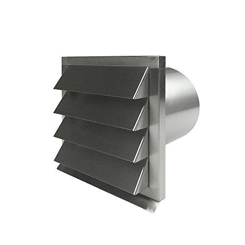 EASYTEC® Außenjalousie Ø 150 mm Edelstahl gebürstet mit Rückstauklappe aus Metall - Mauerkasten Abluftjalousie Lüftungsgitter Abluftgitter (150 mm)