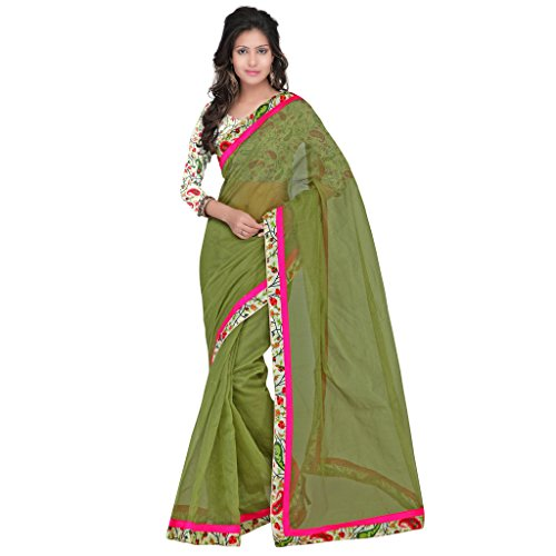 sarvagny clothings Women Silk Cotton Saree (Sarvagny561_Green_Green_Free Size)