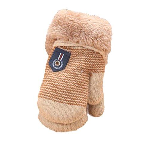 FEITONG Espeso lindo Caliente bebé infantil chicas chicas De guantes de invierno caliente (Beige)