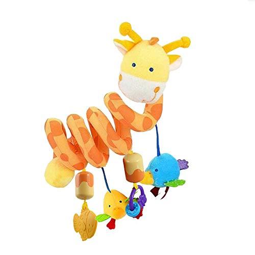 Lomire Juguetes Colgantes Espiral de Gifra para Asiento Cuna Cochecito Carrito Bebés con Campana de Timbre Peluche Mordedor para Niños Niñas
