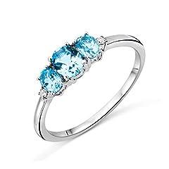 Idea Regalo - Miore Trilogy Topaz, anello da donna, oro bianco da 9 carati (oro 375), con topazio blu da 0,82 carati e diamanti da 0,02 carati e Oro bianco, 58 (18.5), cod. M9087R8