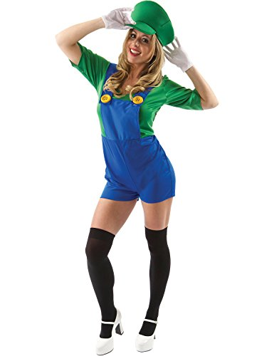 (Damen Super Mario Bros Luigi Klempner Verrücktes Kleid Kostüm, Multi-Colored, M)