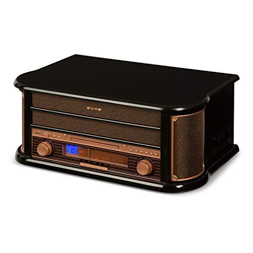 Auna Belle Epoque 1908 • Chaîne stéréo rétro • Tuner Radio FM/MW • Enceintes stéréo • Fonction Enregistrement • Port USB • Lecteur de Cassettes intégré • Écran LCD • Noir