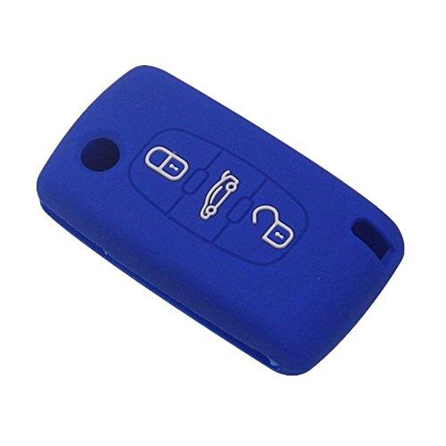 Happyit Silicona Coche Llave Funda Protectora para Peugeot RCZ 107 206 207 208 306 307 308 407 408 508 para Citroen C1 C2 C3 C4 C5 C6 C8 3 Botones Doblar Clave (Azul)
