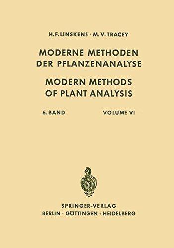 Modern Methods of Plant Analysis/Moderne Methoden der Pflanzenanalyse