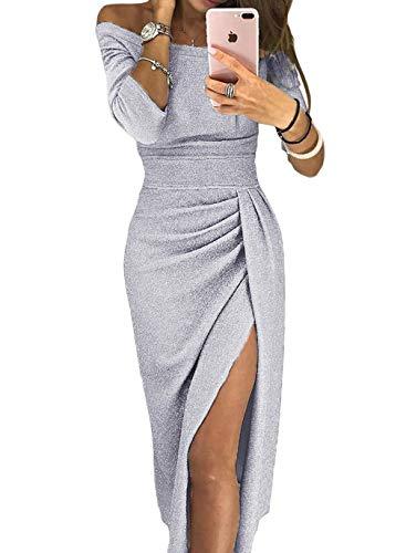 Aleumdr Vestito Donna Manica 3/4 Abito Donna off Shoulder Vestiti Eleganti con Spacco a Coscia Abito